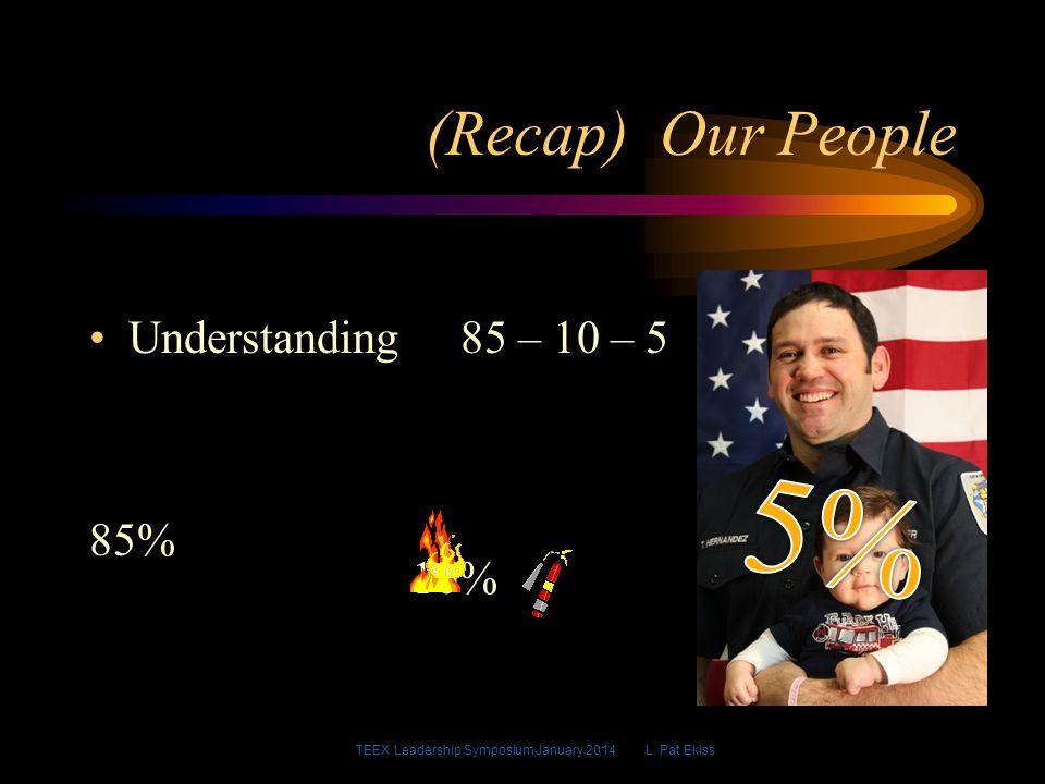 (Recap) Our People Understanding 85 – 10 – 5 85% 10% TEEX Leadership Symposium January 2014 L.