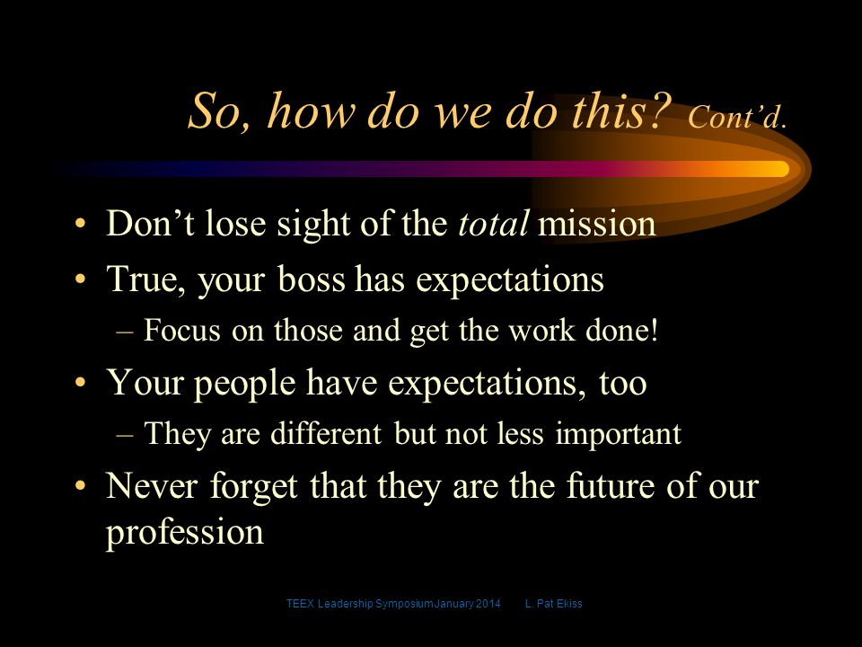 Don't lose sight of the total mission True, your boss has expectations –Focus on those and get the work done.