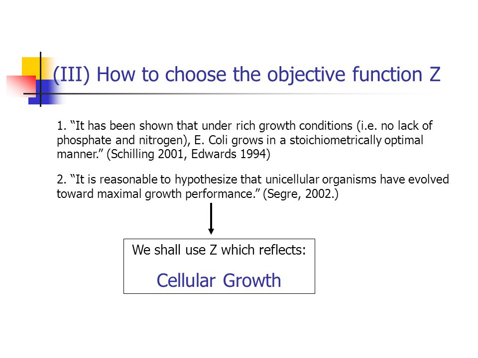 (III) How to choose the objective function Z We want to choose a Z that is biologically meaningful.
