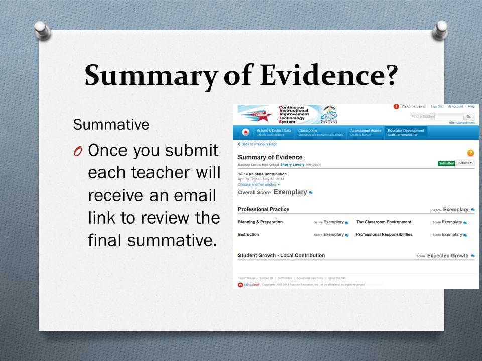 Summary of Evidence.
