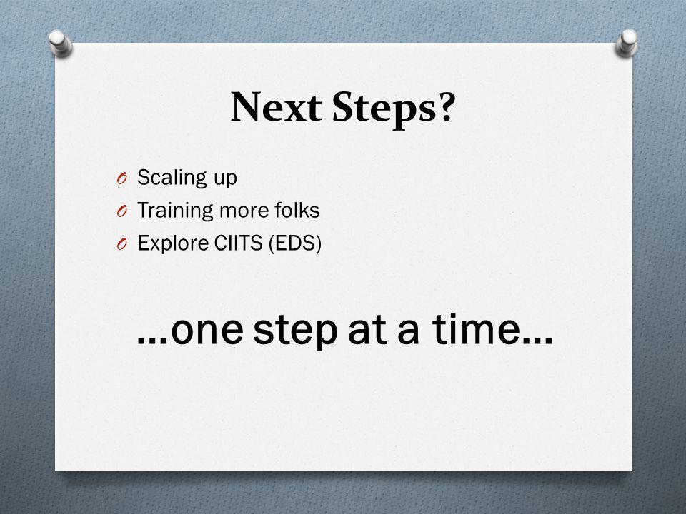 Next Steps? O Scaling up O Training more folks O Explore CIITS (EDS) …one step at a time…