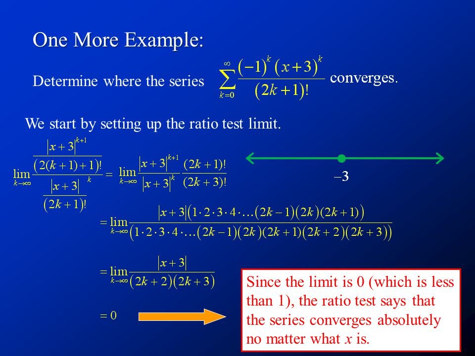 One More Example: Determine where the series We start by setting up the ratio test limit.