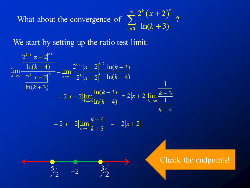 What about the convergence of We start by setting up the ratio test limit. Check the endpoints!