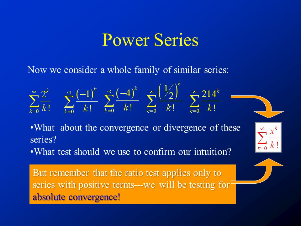 Power Series Now we consider a whole family of similar series: What about the convergence or divergence of these series.