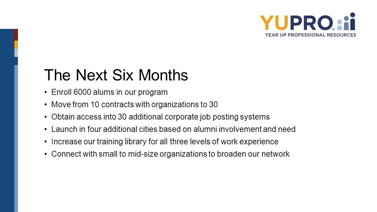 The Next Six Months Enroll 6000 alums in our program Move from 10 contracts with organizations to 30 Obtain access into 30 additional corporate job po