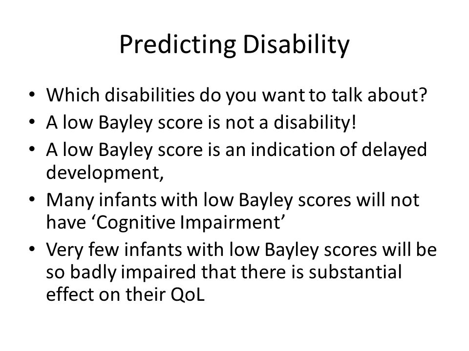 Does a low Bayley MDI mean that an infant has cognitive impairment? Hack et al