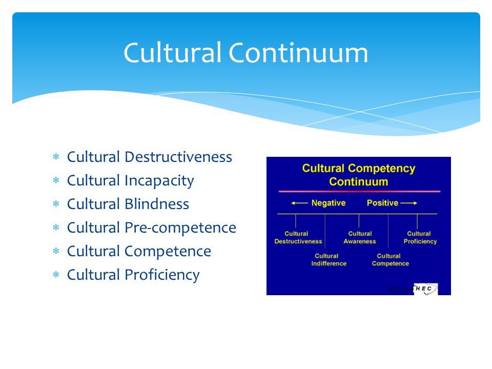  Cultural Destructiveness  Cultural Incapacity  Cultural Blindness  Cultural Pre-competence  Cultural Competence  Cultural Proficiency Cultural Continuum