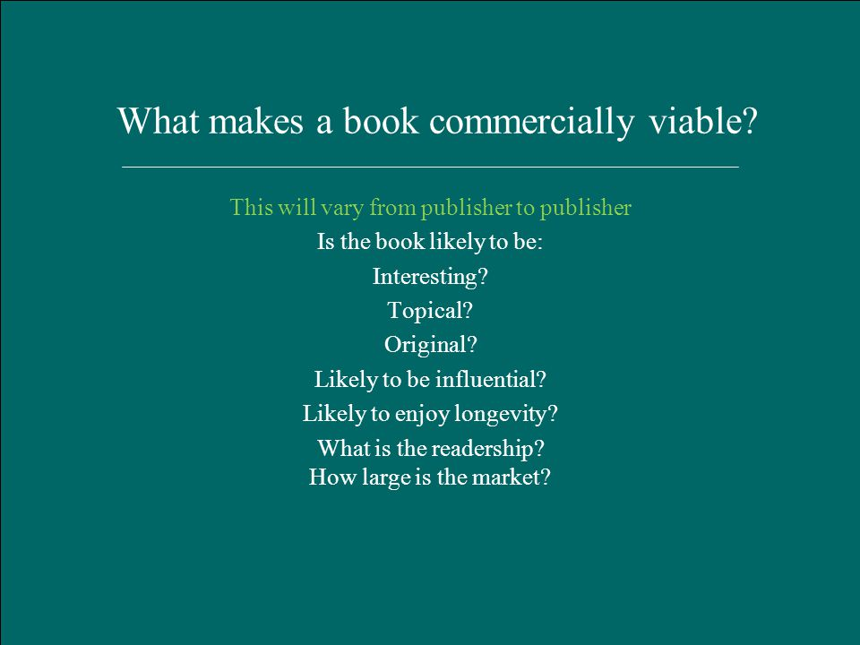 Hart Publishing, Oxford January 2012 What makes a book commercially viable.