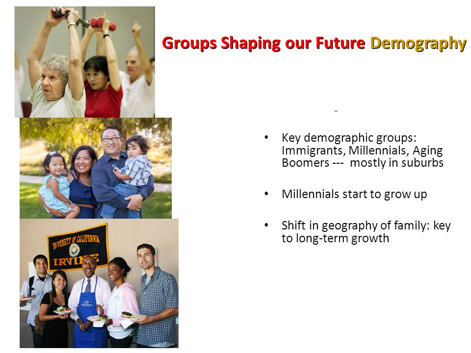 Groups Shaping our Future Demography – Key demographic groups: Immigrants, Millennials, Aging Boomers --- mostly in suburbs Millennials start to grow up Shift in geography of family: key to long-term growth