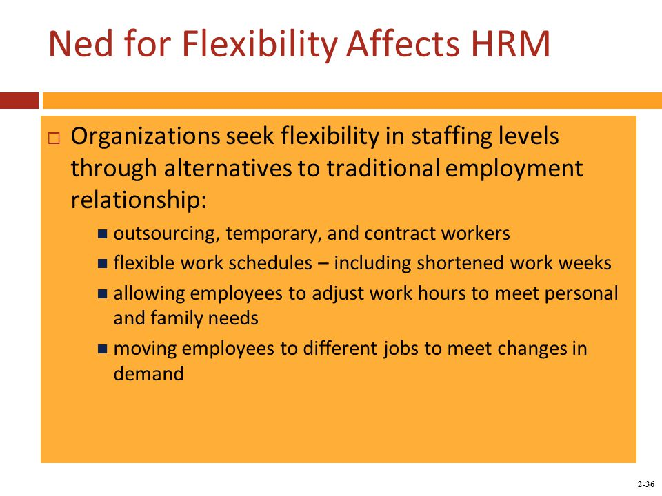 Copyright © 2014 by the McGraw-Hill Companies, Inc. All rights reserved. McGraw-Hill/Irwin 2-36 Ned for Flexibility Affects HRM  Organizations seek f