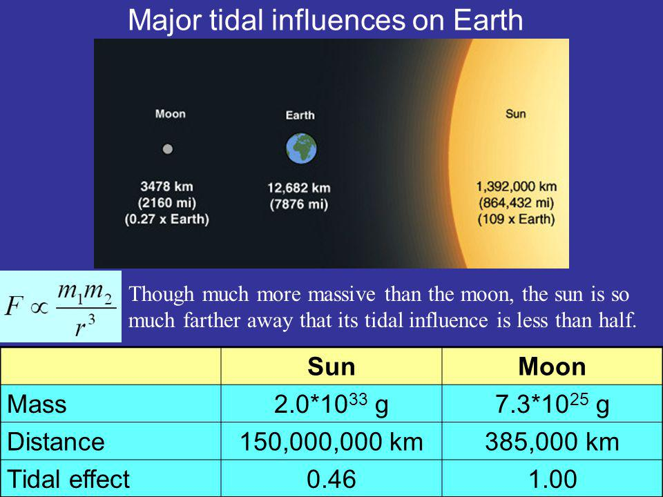 Major tidal influences on Earth SunMoon Mass2.0*10 33 g7.3*10 25 g Distance150,000,000 km385,000 km Tidal effect0.461.00 Though much more massive than the moon, the sun is so much farther away that its tidal influence is less than half.