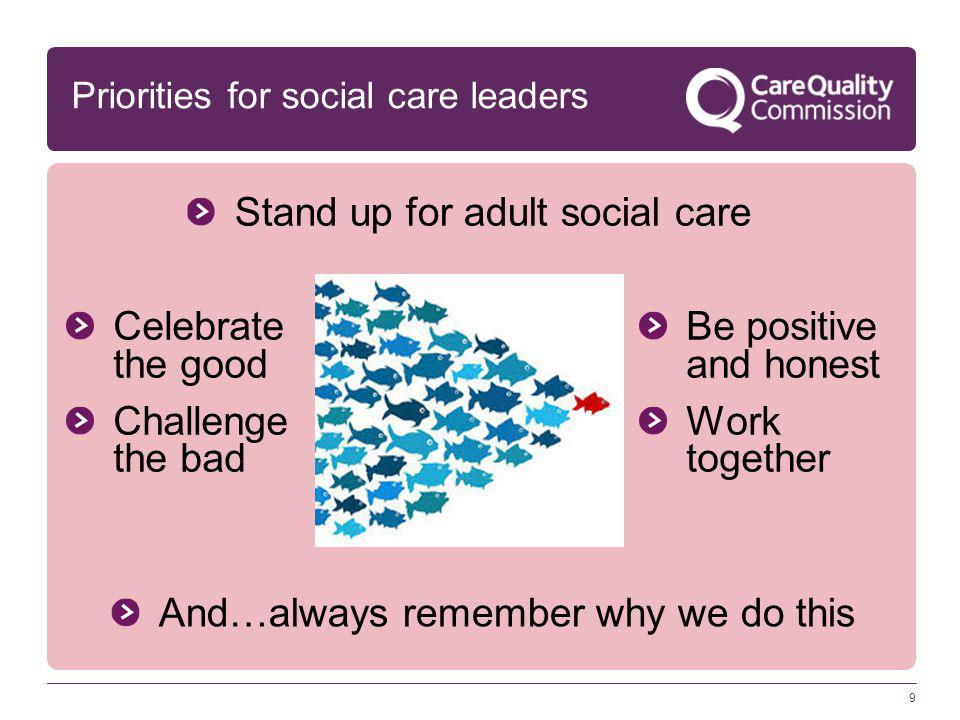 9 Stand up for adult social care Priorities for social care leaders And…always remember why we do this Celebrate the good Challenge the bad Be positiv
