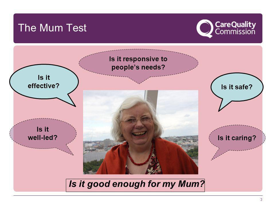 3 The Mum Test Is it good enough for my Mum? Is it safe? Is it caring? Is it effective? Is it responsive to people's needs? Is it well-led?