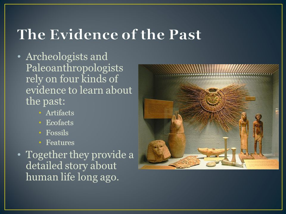 Archeologists and Paleoanthropologists rely on four kinds of evidence to learn about the past: Artifacts Ecofacts Fossils Features Together they provi