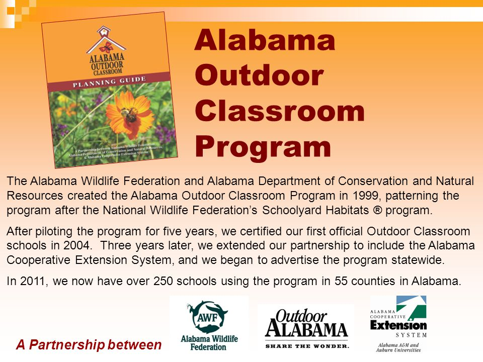 Alabama Outdoor Classroom Program provides technical advice and assistance to educators, administrators, students and community members who wish to create an effective, sustainable outdoor classroom and wildlife habitat on their school grounds.