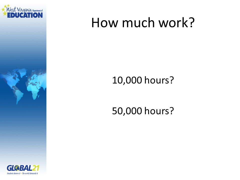 How much work? 10,000 hours? 50,000 hours?
