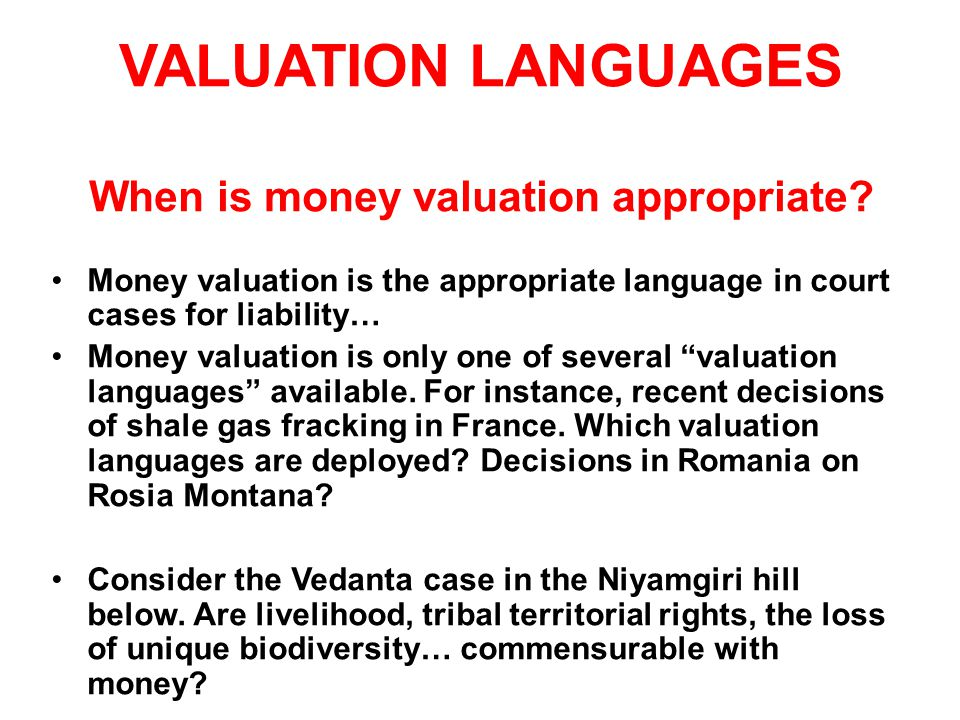 VALUATION LANGUAGES When is money valuation appropriate.