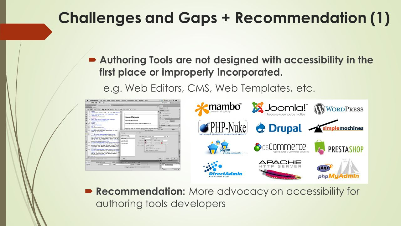 Challenges and Gaps + Recommendation (1)  Authoring Tools are not designed with accessibility in the first place or improperly incorporated.