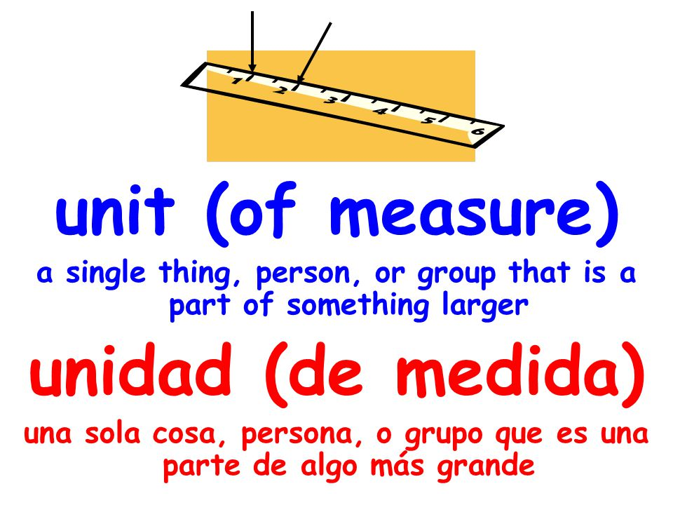 unit (of measure) a single thing, person, or group that is a part of something larger unidad (de medida) una sola cosa, persona, o grupo que es una parte de algo más grande