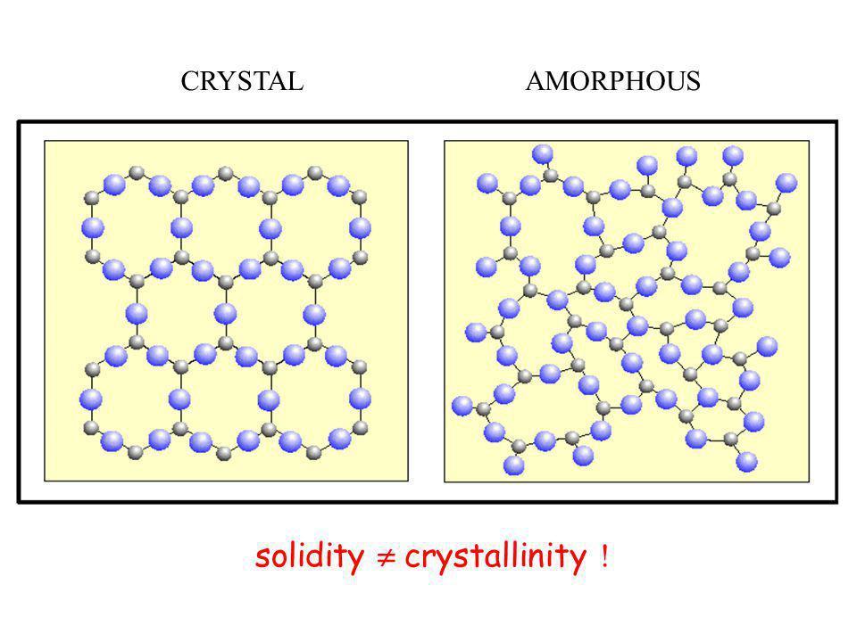 CRYSTALAMORPHOUS solidity  crystallinity !