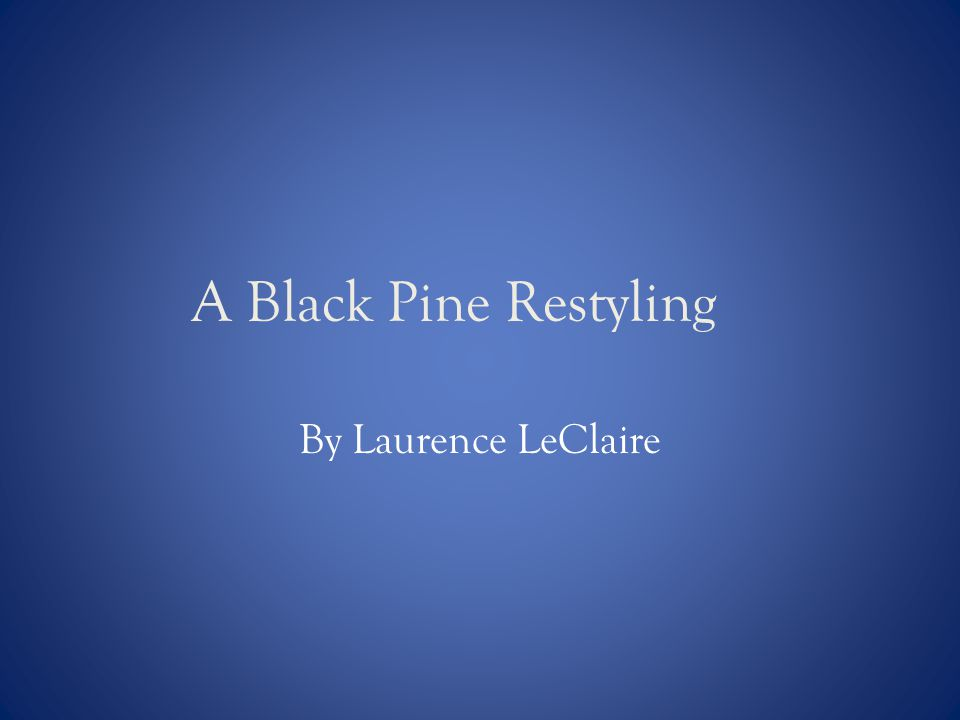 A Black Pine Restyling By Laurence LeClaire