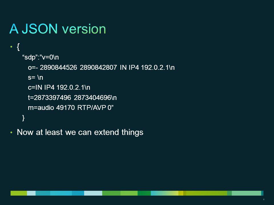"""4 { """"sdp"""":""""v=0\n o=- 2890844526 2890842807 IN IP4 192.0.2.1\n s= \n c=IN IP4 192.0.2.1\n t=2873397496 2873404696\n m=audio 49170 RTP/AVP 0"""" } Now at l"""