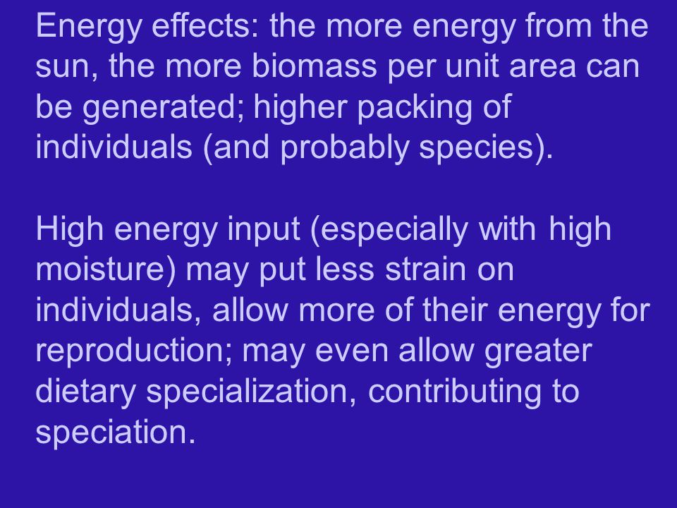Energy effects: the more energy from the sun, the more biomass per unit area can be generated; higher packing of individuals (and probably species).