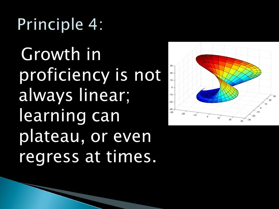 Growth in proficiency is not always linear; learning can plateau, or even regress at times.