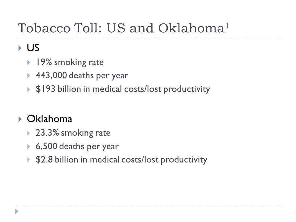 Tobacco Toll: US and Oklahoma 1  US  19% smoking rate  443,000 deaths per year  $193 billion in medical costs/lost productivity  Oklahoma  23.3% smoking rate  6,500 deaths per year  $2.8 billion in medical costs/lost productivity