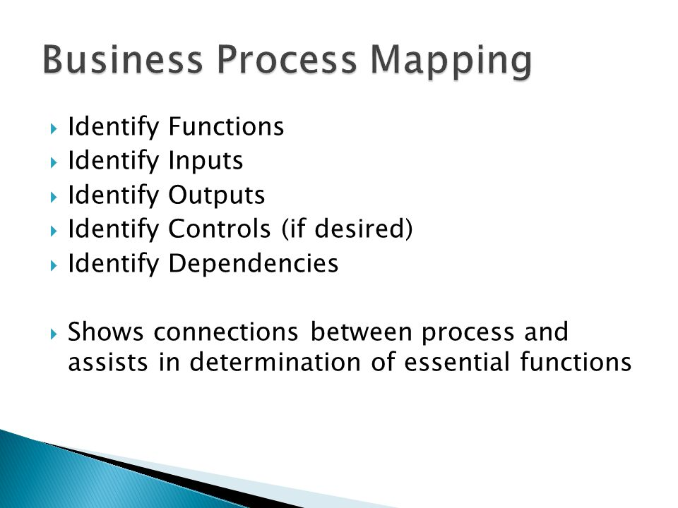  Identify Functions  Identify Inputs  Identify Outputs  Identify Controls (if desired)  Identify Dependencies  Shows connections between process