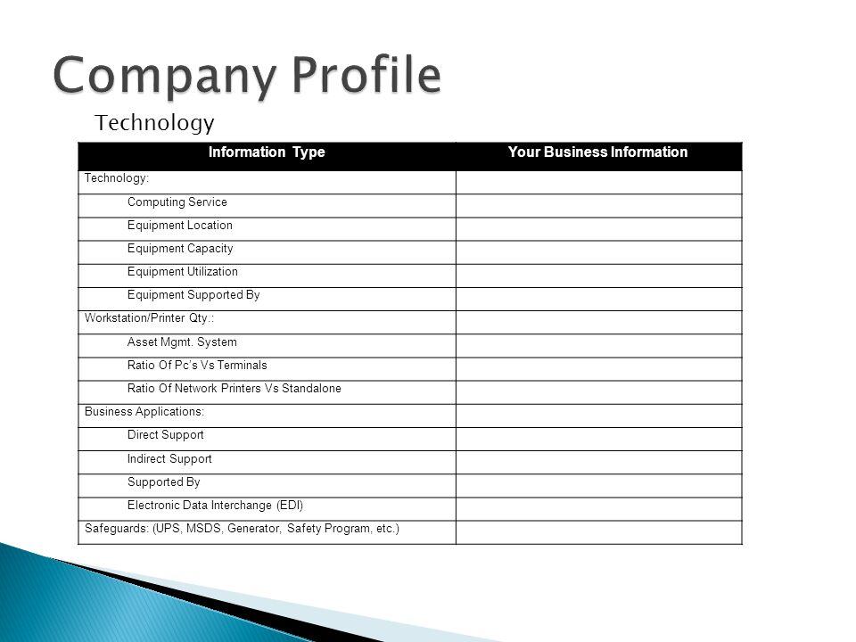 Information TypeYour Business Information Technology: Computing Service Equipment Location Equipment Capacity Equipment Utilization Equipment Supporte