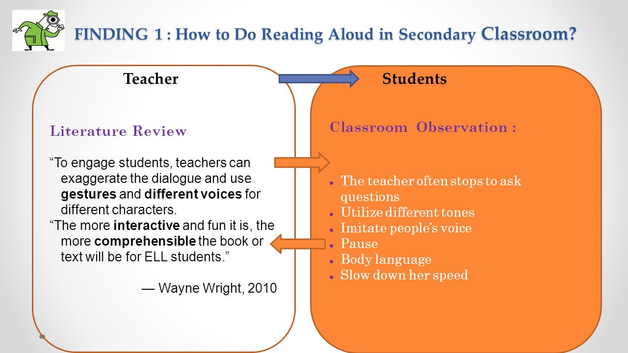 FINDING 1 : How to Do Reading Aloud in Secondary Classroom? FINDING 1 : How to Do Reading Aloud in Secondary Classroom? Classroom Observation : The te
