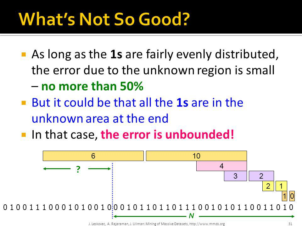31  As long as the 1s are fairly evenly distributed, the error due to the unknown region is small – no more than 50%  But it could be that all the 1