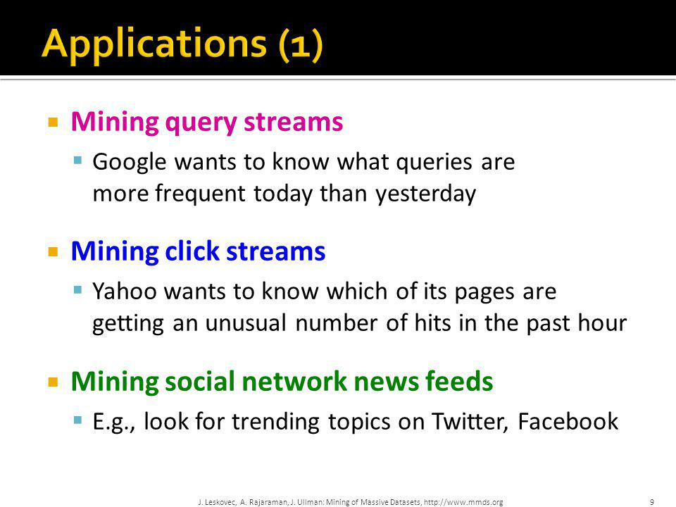  Mining query streams  Google wants to know what queries are more frequent today than yesterday  Mining click streams  Yahoo wants to know which o