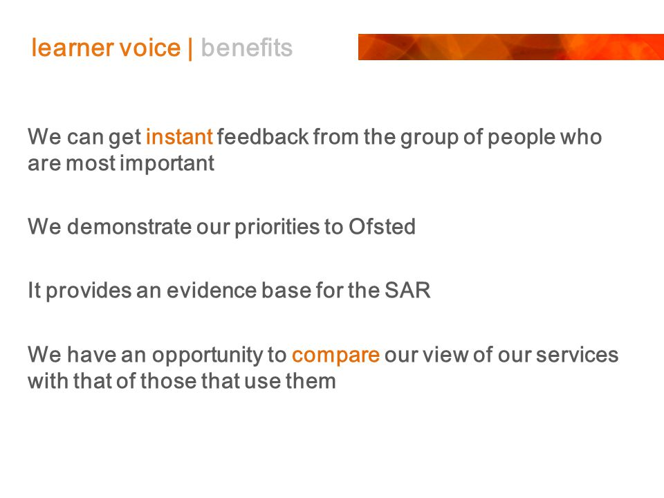 learner voice | benefits We can get instant feedback from the group of people who are most important We demonstrate our priorities to Ofsted It provides an evidence base for the SAR We have an opportunity to compare our view of our services with that of those that use them