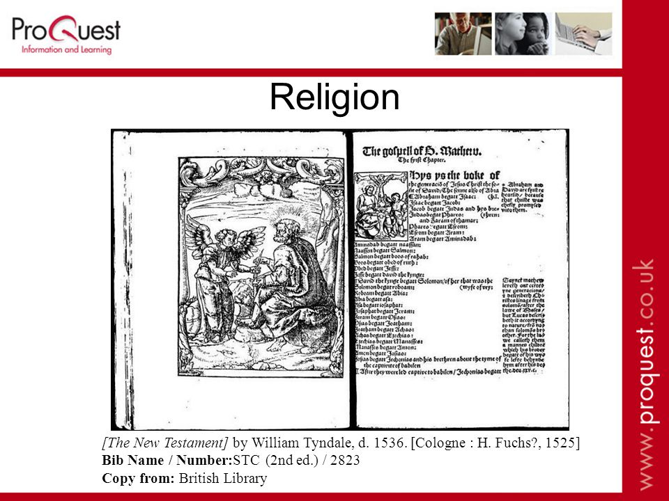 Religion [The New Testament] by William Tyndale, d.
