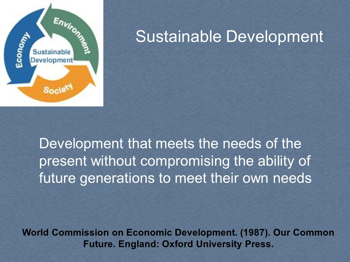 Sustainable Development Development that meets the needs of the present without compromising the ability of future generations to meet their own needs World Commission on Economic Development.