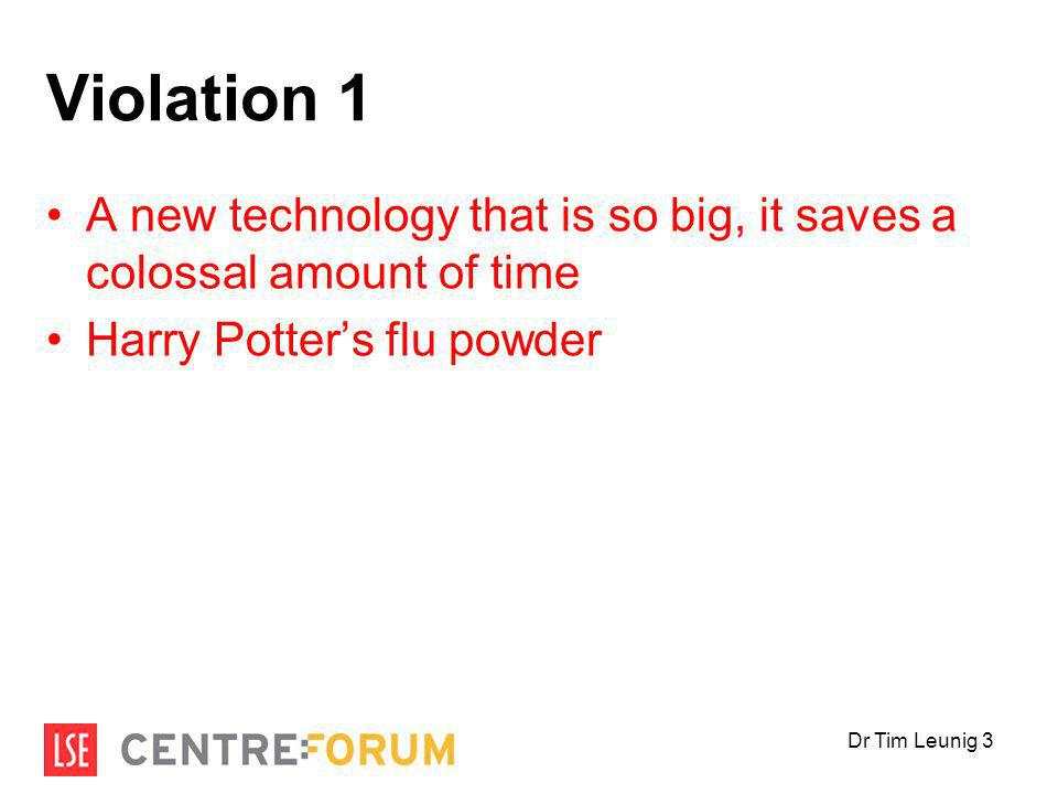 Violation 1 A new technology that is so big, it saves a colossal amount of time Harry Potter's flu powder Dr Tim Leunig 3