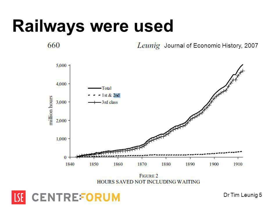 Railways were used Journal of Economic History, 2007 Dr Tim Leunig 5