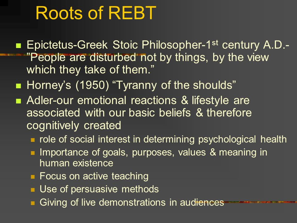 Aaron Beck's Cognitive Therapy (CT) Insight-focused therapy Emphasizes changing negative thoughts and maladaptive beliefs Theoretical Assumptions People's internal communication is accessible to introspection Clients' beliefs have highly personal meanings These meanings can be discovered by the client rather than being taught or interpreted by the therapist