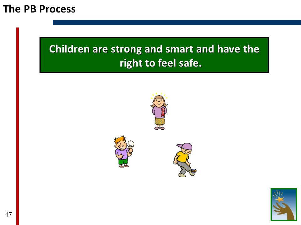 17 The PB Process Children are strong and smart and have the right to feel safe.