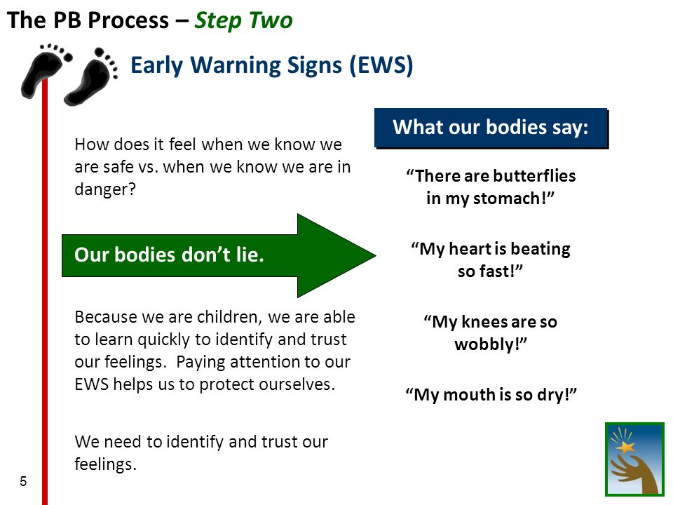 5 The PB Process – Step Two How does it feel when we know we are safe vs.