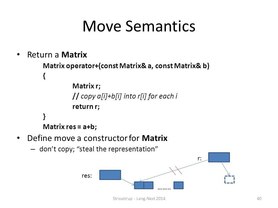 Move Semantics Return a Matrix Matrix operator+(const Matrix& a, const Matrix& b) { Matrix r; // copy a[i]+b[i] into r[i] for each i return r; } Matrix res = a+b; Define move a constructor for Matrix – don't copy; steal the representation ……..