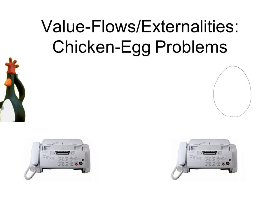 Value-Flows/Externalities: Chicken-Egg Problems