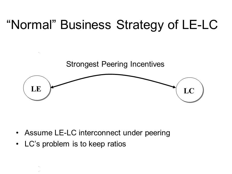 """""""Normal"""" Business Strategy of LE-LC LCLE Strongest Peering Incentives Assume LE-LC interconnect under peering LC's problem is to keep ratios"""