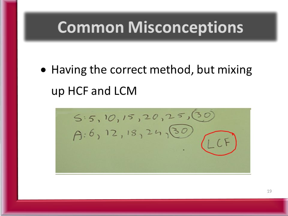  Having the correct method, but mixing up HCF and LCM 19