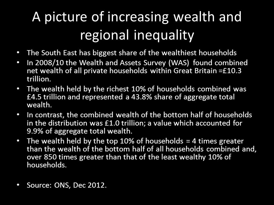 A picture of increasing wealth and regional inequality The South East has biggest share of the wealthiest households In 2008/10 the Wealth and Assets Survey (WAS) found combined net wealth of all private households within Great Britain =£10.3 trillion.