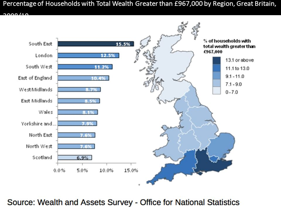 Percentage of Households with Total Wealth Greater than £967,000 by Region, Great Britain, 2008/10