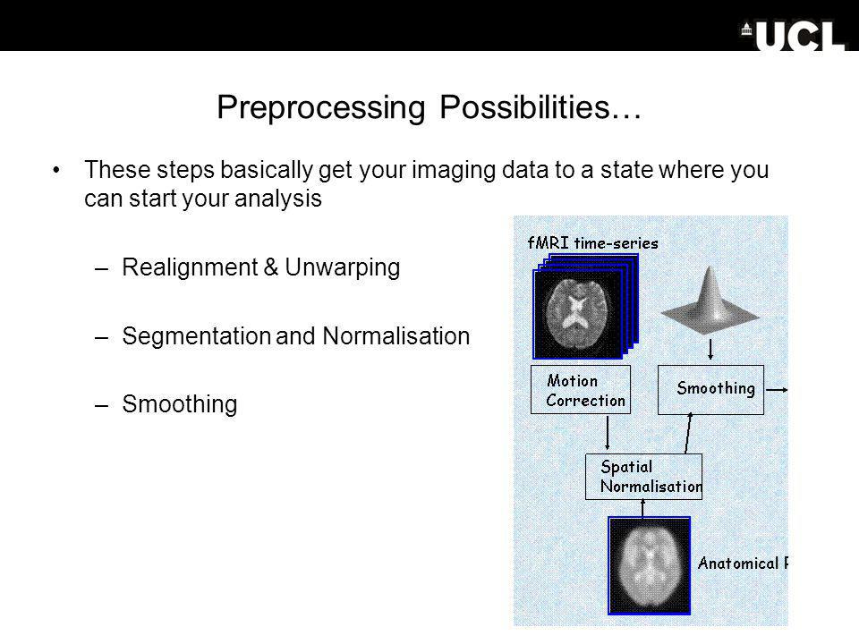 Preprocessing Possibilities… These steps basically get your imaging data to a state where you can start your analysis –Realignment & Unwarping –Segmentation and Normalisation –Smoothing