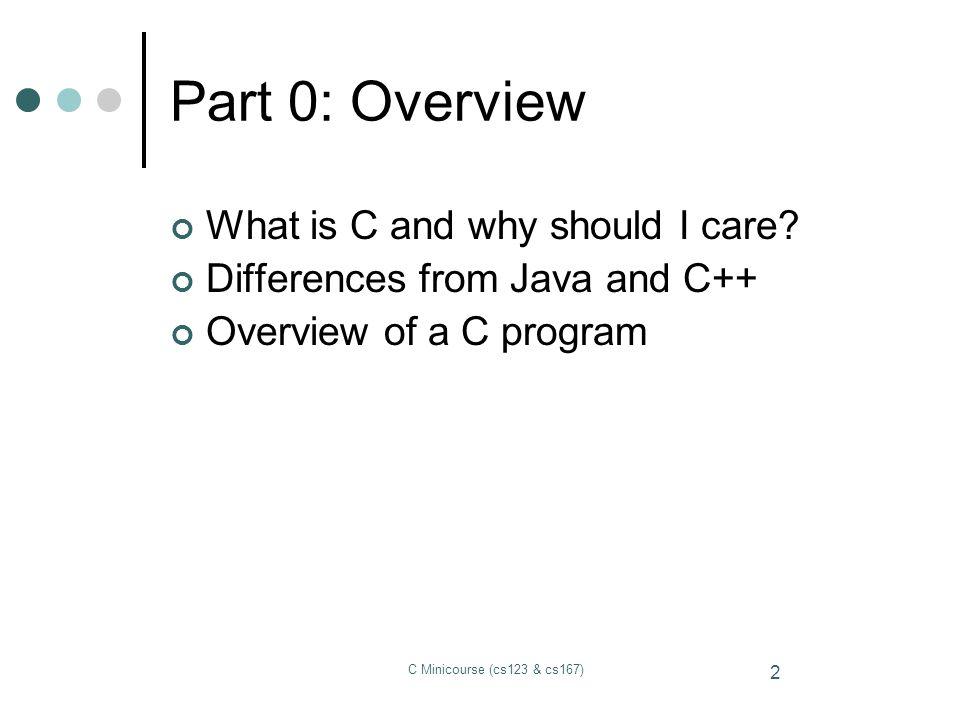 C Minicourse (cs123 & cs167) 3 This is C.